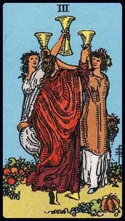 Drei der Kelche Tarot Tageskarte