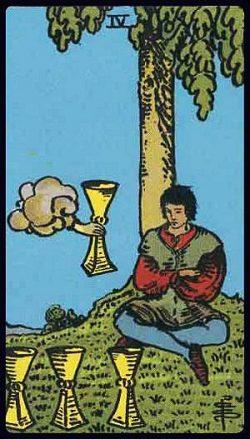Vier der Kelche Tarot Tageskarte