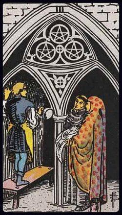 Drei der Münzen Tarot Tageskarte