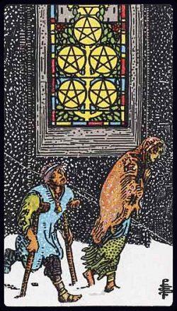 Fünf der Münzen Tarot Tageskarte