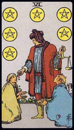Sechs der Münzen Tarot Tageskarte
