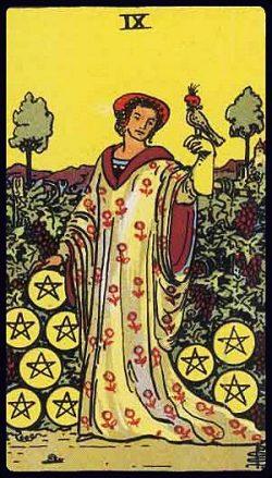 Neun der Münzen Tarot Tageskarte