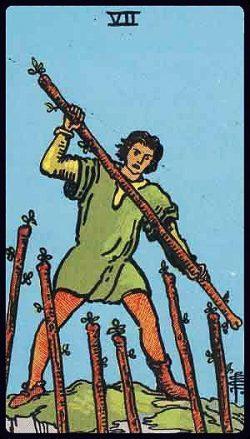 Sieben der Stäbe Tarot Tageskarte