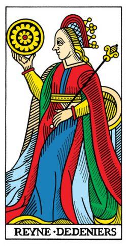 Königin der Münzen Tarot Tageskarte